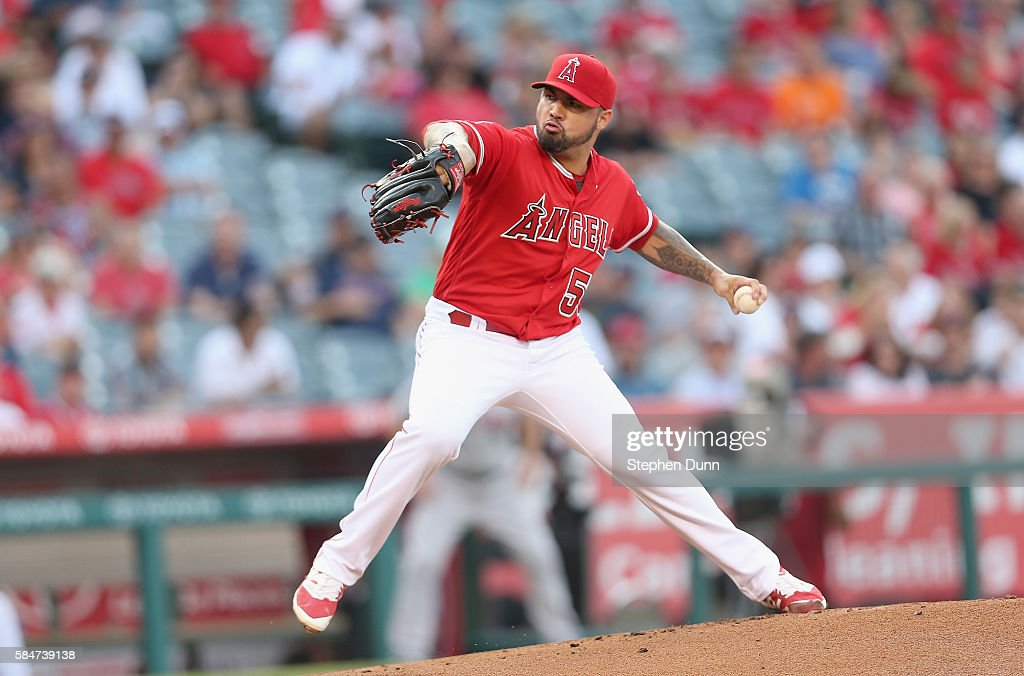 Hector Santiago #53 of the Los Angeles Angels of Anaheim throws a pitch against the Boston Red Sox at Angel Stadium of Anaheim on July 30, 2016 in Anaheim, California.