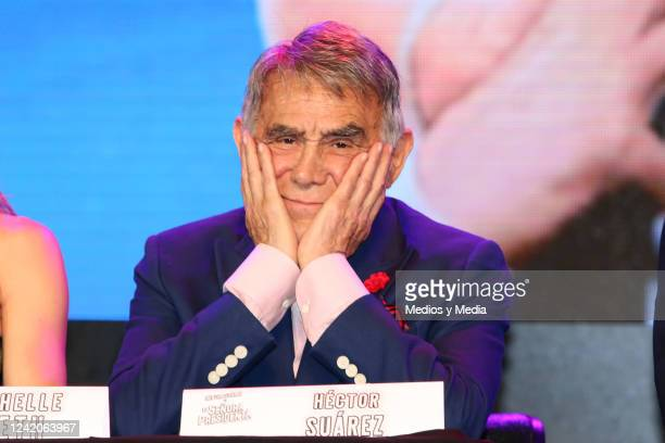 Hector Suarez looks at the camera during 'La Señora Presidenta' conference on January 26 in 'Centro Cultural 1' in Mexico City Mexico