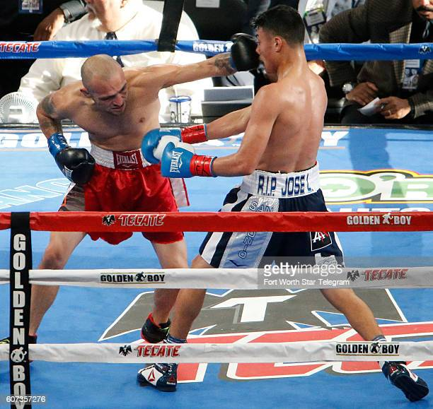 Hector Tanajara Jr right defeats Roy Garcia in a lightweight bout at ATT Stadium in Arlington Texas on Saturday Sept 17 on the undercard of the the...
