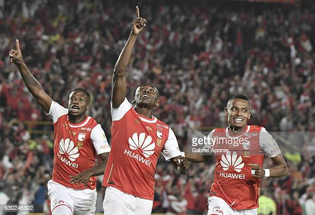 Hector Urrego of Santa Fe celebrates after scoring during a second leg final match between Santa Fe and Deportes Tolima as part of Liga Aguila II...