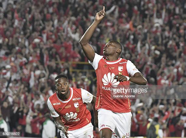 Hector Urrego of Santa Fe celebrates after scoring the first goal of his team during a second leg final match between Santa Fe and Deportes Tolima as...