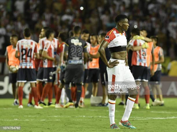 Hector Urrego of Santa Fe looks dejected after the semifinal second leg match between Junior and Independiente Santa Fe as part of Copa CONMEBOL...