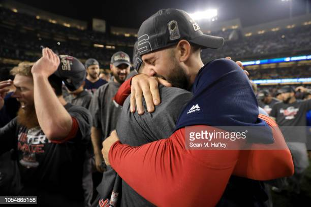 Hector Velazquez and Rick Porcello of the Boston Red Sox celebrate with their team's 51 win over the Los Angeles Dodgers in Game Five of the 2018...