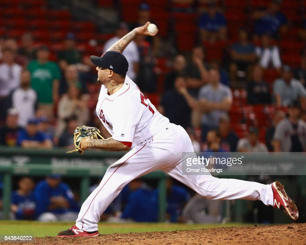 Hector Velazquez of the Boston Red Sox pitches at the top of the nineteenth inning during the game against the Toronto Blue Jays at Fenway Park on...