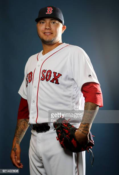 Hector Velazquez of the Boston Red Sox poses for a portrait during the Boston Red Sox photo day on February 20 2018 at JetBlue Park in Ft Myers...