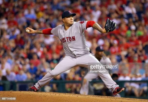 Hector Velazquez of the Boston Red Sox throws a pitch during a game against the Philadelphia Phillies at Citizens Bank Park on June 14 2017 in...