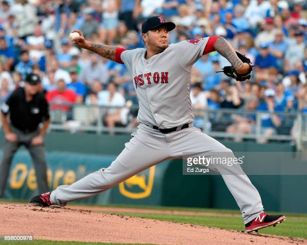 Hector Velazquez of the Boston Red Sox throws in the first inning against the Kansas City Royals at Kauffman Stadium on June 19 2017 in Kansas City...