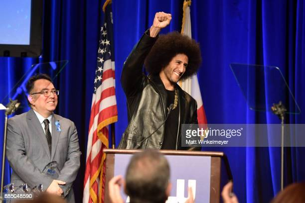 Hector Villagra executive director at ACLU Southern California and honoree Colin Kaepernick onstage at ACLU SoCal Hosts Annual Bill of Rights Dinner...
