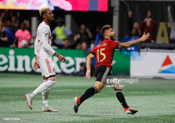 Hector Villalba of Atlanta United celebrates scoring the third goal against the New York Red Bulls during the MLS Eastern Conference Finals between...