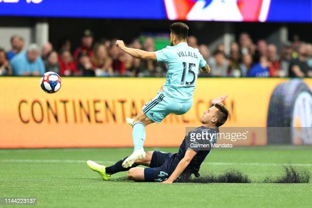 Hector Villalba of Atlanta United jumps over Bressan of FC Dallas during the first half of the game between Atlanta United and FC Dallas at...
