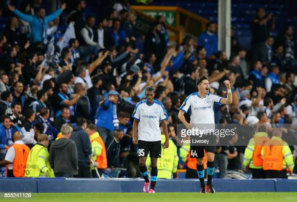Hector Yuste Canton of Apollon Limassol celebrates after scoring his sides second goal during the UEFA Europa League group E match between Everton FC...