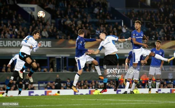 Hector Yuste Canton of Apollon Limassol scores his sides second goal during the UEFA Europa League group E match between Everton FC and Apollon...