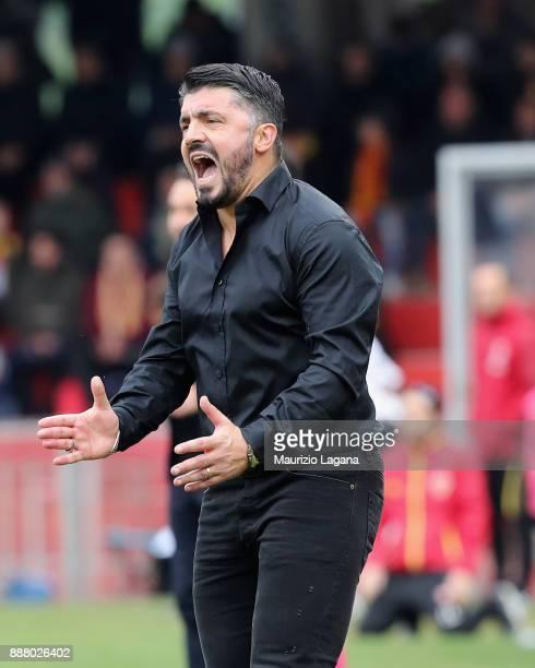 Hed coach of Milan Gennaro Gattuso during the Serie A match between Benevento Calcio and AC Milan at Stadio Ciro Vigorito on December 3 2017 in...