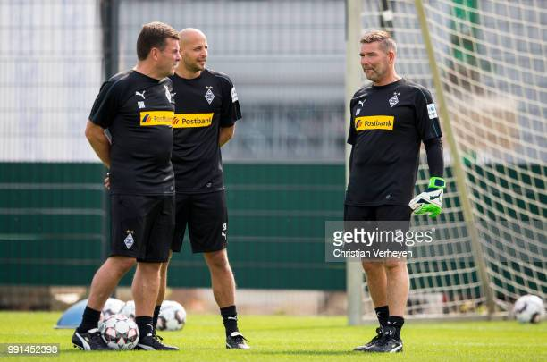 Hedcoach Dieter Hecking Goalkeeper Coach Stefan Krebs and Goalkeeper Coach Uwe Kamps during a training session of Borussia Moenchengladbach at...