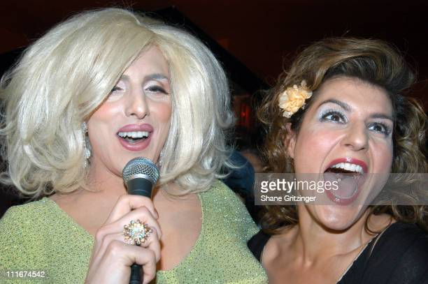Hedda Lettuce and Nia Vardalos during Nia Vardalos Star of Connie And Carla Performs at Bar d'O April 7 2004 at Bar d' O in New York City New York...