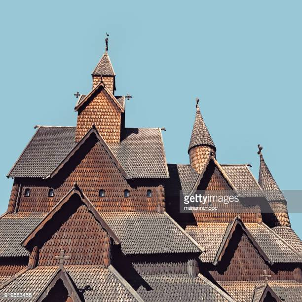 heddal stave church, folkestien, telemark, norway - telemark stock pictures, royalty-free photos & images