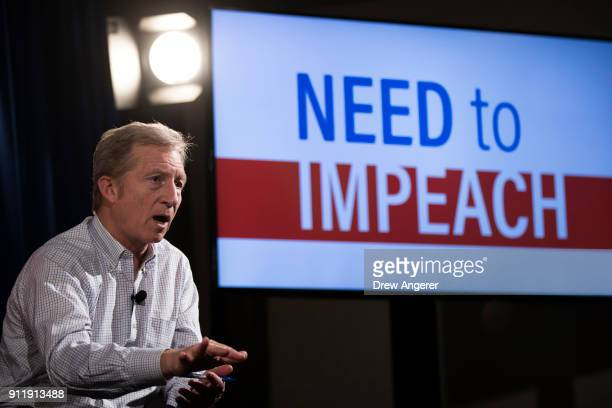 Hedge fund billionaire and Democratic fundraiser Tom Steyer speaks during a town hall event at the DoubleTree Suites by Hilton hotel in Times Square...