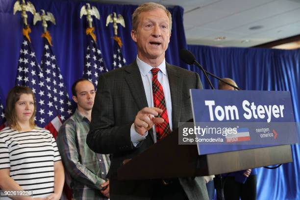 Hedge fund billionaire Democratic megadonor and environmentalist Tom Steyer holds a news conference regarding his political future and plans January...