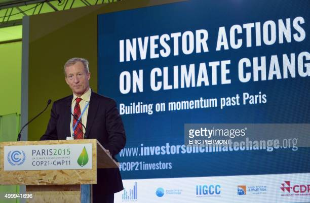 Hedge Fund manager Philanthropist and Environmentalist Tom Steyer addresses a keynote presentation at at the COP 21 United Nations conference on...