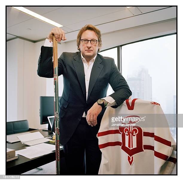 Hedge fund manager Philip Falcone is photographed in his office at Harbinger Capital with his hocky gear for Vanity Fair Magazine on April 20, 2011...