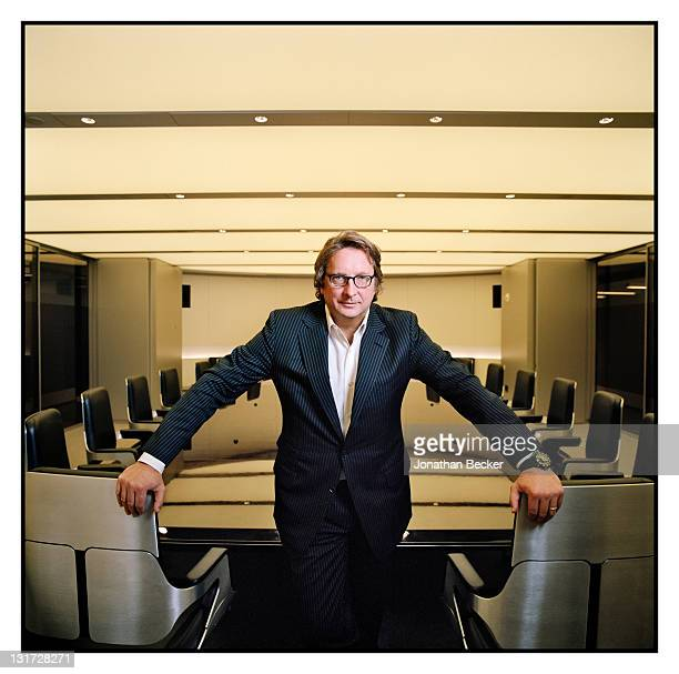 Hedge fund manager Philip Falcone is photographed in the conference room at Harbinger Capital for Vanity Fair Magazine on April 20, 2011 in New York...
