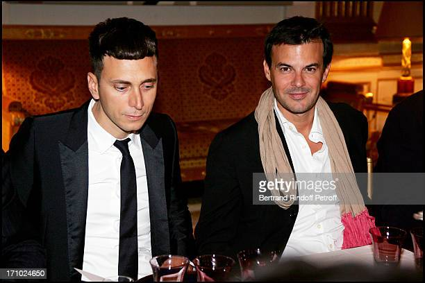 Hedi Slimane and Francois Ozon dinner in honor of Jeanne Moreau organized by the minister of culture after the awards ceremony for Commander of the...