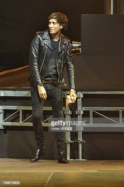 Hedi Slimane at the finale of his Yves Saint Laurent Ready to Wear Fall/Winter 2013-2014 show as part of Paris Fashion Week at on January 20, 2013 in...