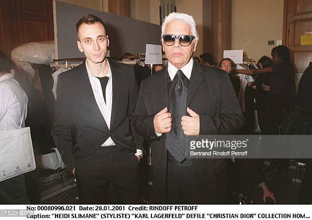 Hedi Slimane Karl Lagerfeld at theChristian Dior Catwalk Menswear Autumn Winter 2001/2002 In Paris