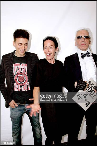 Hedi Slimane Lady Amanda Harlech and Karl Lagerfeld Dior fashion show masculine collections spring summer 2007