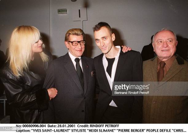 Hedi Slimane' 'Pierre Berge at theChristian Dior Catwalk Menswear Autumn Winter 2001/2002 In Paris