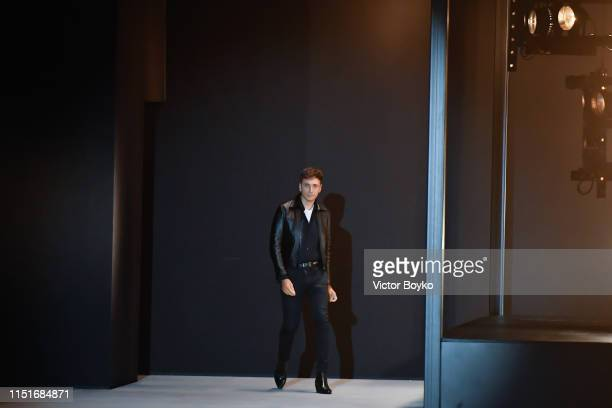 Hedi Slimane walks the runway during the Celine Menswear Spring Summer 2020 show as part of Paris Fashion Week on June 23, 2019 in Paris, France.