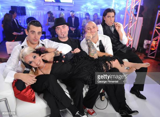 Hedley and Suzie McNeil in the E Talk Lounge at the 2008 Juno Awards April 6 2008 at the Pengrowth Saddledome in Calgary Canada in Calgary Canada