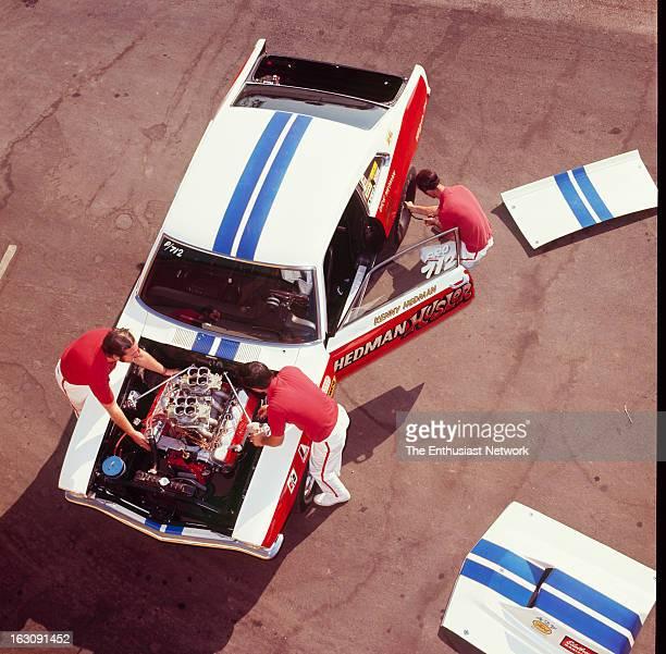 Hedman Pro-Stock Ford Maverick - Hedman Hustler. Team mechanics work on there Pro-Stock Ford Maverick during a photo shoot for Hot Rod Magazine.