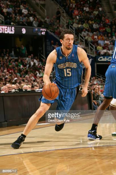 Hedo Turkoglu of the Orlando Magic dribbles against the Cleveland Cavaliers at Quicken Loans Arena on March 17, 2009 in Cleveland, Ohio. The Cavs won...