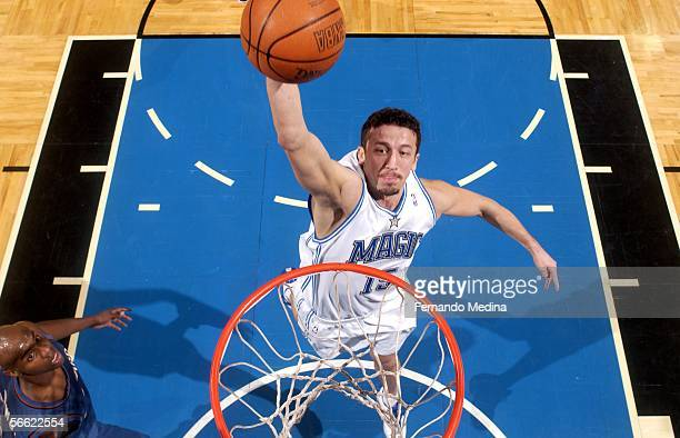Hedo Turkoglu of the Orlando Magic dunks against the Washington Wizards on January 18 2006 at TD Waterhouse Centre in Orlando Florida NOTE TO USER...