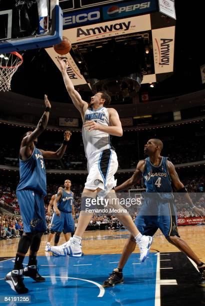 Hedo Turkoglu of the Orlando Magic shoots against Andray Blatche of the Washington Wizards during the game on January 6 2009 at Amway Arena in...