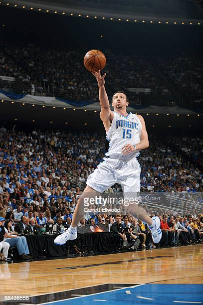 Hedo Turkoglu of the Orlando Magic shoots against the Los Angeles Lakers during Game Four of the 2009 NBA Finals at Amway Arena on June 11 2009 in...