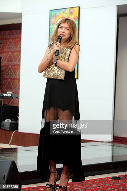 DrGulnara Karimova Chairwoman of the Board of Trustees Fund Forum makes a speech during the Akmal Nur Exhibition opening at The Center of National...