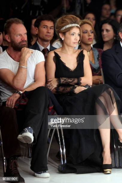 DrGulnara Karimova chairwomen of the Board of Trustees fund Forum and singer Sting attend the General Défilé fashion show on October 17 2009 in...