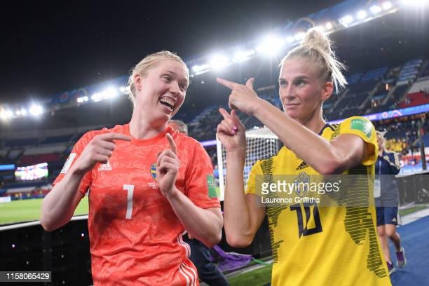 Hedvig Lindahl and Sofia Jakobsson of Swedenc celebrate following their sides victory in the 2019 FIFA Women's World Cup France Round Of 16 match...