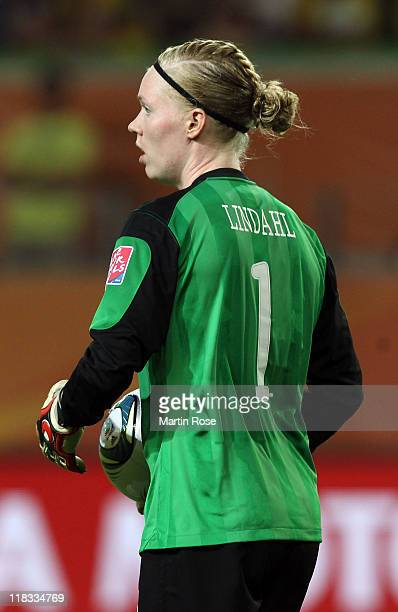 Hedvig Lindahl goalkeeper of Sweden holds the ball during the FIFA Women's World Cup 2011 Group C match between Sweden and USA at Wolfsburg Arena on...