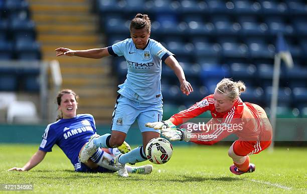 Hedvig Lindahl of Chelsea dives at the feet of Nikita Parris of Manchester City during the Women's FA Cup Semi Final match between Chelsea Ladies and...