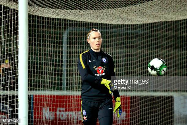 Hedvig Lindahl of Chelsea FC warms up prior to the UEFA Women's Champions League between Rosengard and Chelsea Ladies at Malmo Idrottsplats on...