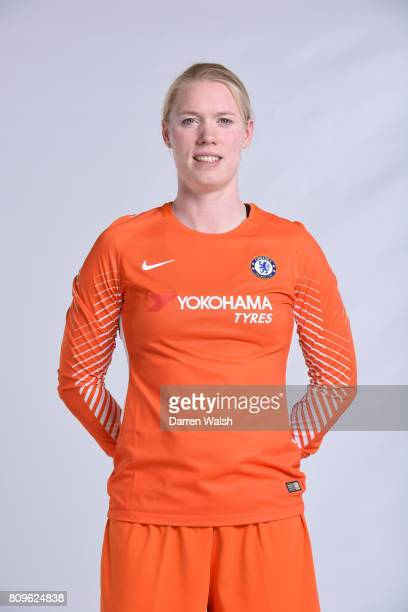 Hedvig Lindahl of Chelsea Ladies during the Chelsea Ladies Nike Kit Shoot at Chelsea Training Ground on June 30 2017 in Cobham England