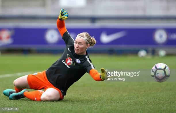 Hedvig Lindahl of Chelsea warms up during the WSL match between Chelsea Ladies and Everton Ladies at The Cherry Red Records Stadium on January 28...