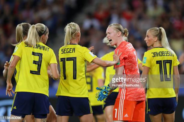 Hedvig Lindahl of Sweden celebrates after saving a penalty during the 2019 FIFA Women's World Cup France Round Of 16 match between Sweden and Canada...