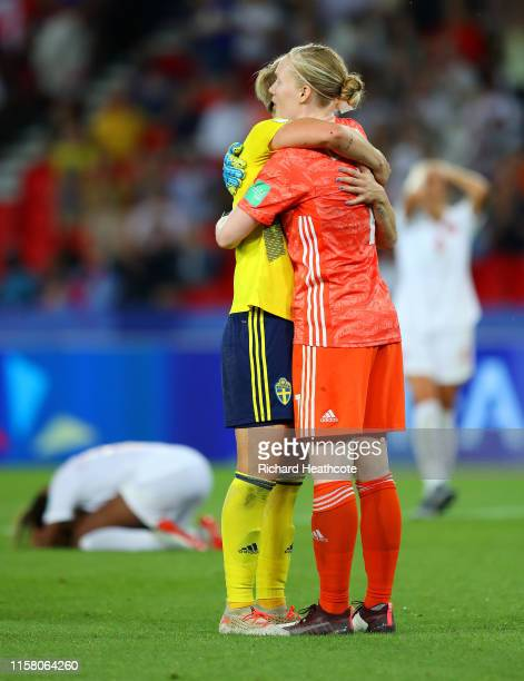 Hedvig Lindahl of Sweden celebrates following her sides victory in the 2019 FIFA Women's World Cup France Round Of 16 match between Sweden and Canada...
