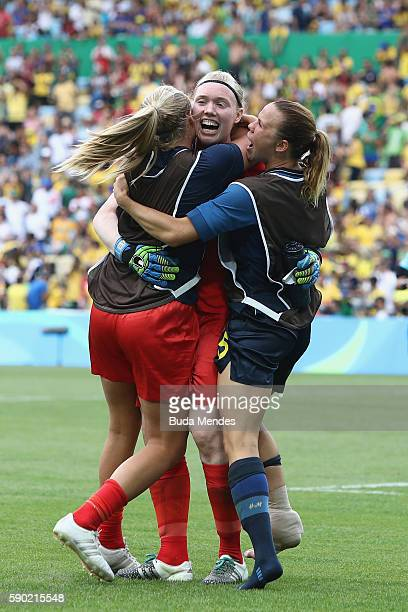 Hedvig Lindahl of Sweden celebrates with teammates following the Women's Football Semi Final between Brazil and Sweden on Day 11 of the Rio 2016...