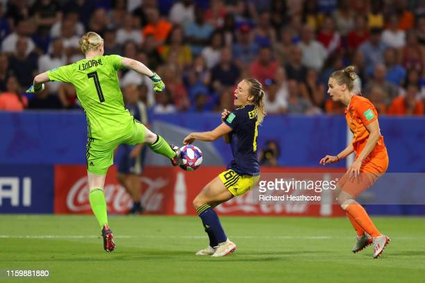 Hedvig Lindahl of Sweden clears the ball during the 2019 FIFA Women's World Cup France Semi Final match between Netherlands and Sweden at Stade de...