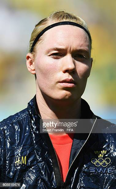 Hedvig Lindahl of Sweden looks on during the Olympic Womens Semi Final Football match between Brazil and Sweden at Maracana Stadium on August 16 2016...